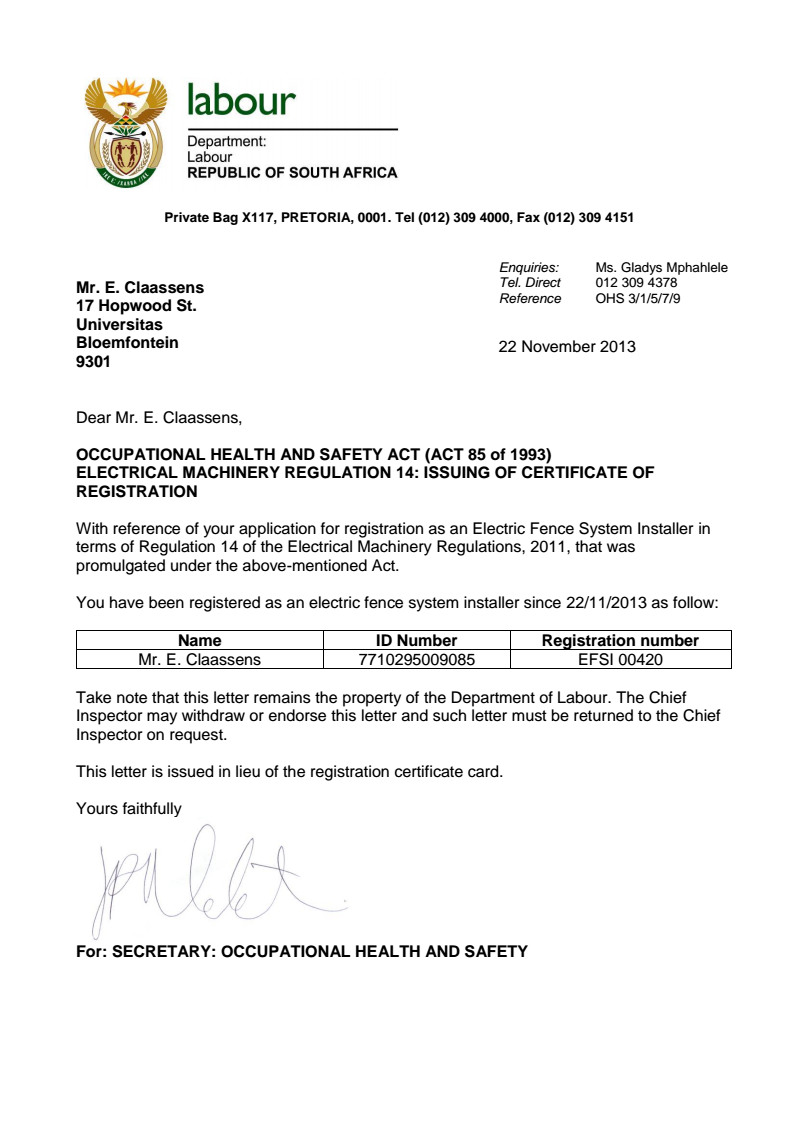 Electrical Fencing Registered Certificate